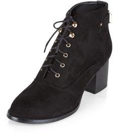 - Lace up design- Block heel design- Gold finish detail