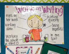 """Work On Writing anchor chart in kindergarten. After going creating traditional Daily 5 anchor charts with students, I made these using Scrappin Doodles clip art. Colored (that is crayon wax melting from her bangs- oops) laminated, and using a Vis-a-Vis (they don't smudge as Expo's do) we talked about what the students body and made notes. Had to make some alterations to hands/eyes with some of the art so that they were """"on their work"""". LOL. Kids said the eyes were creepy."""