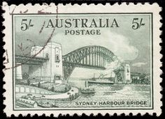 Australian Stamp, the new Sydney Harbour Bridge, c. 1940s.