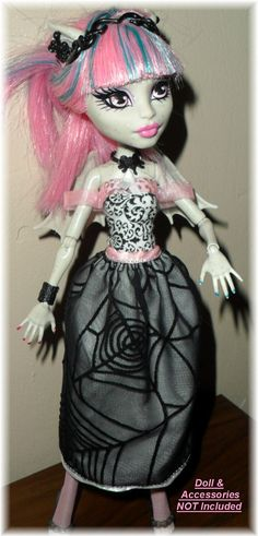 Monster High Clothes Fashion Black Velvet Spider Web by awiety, $15.75