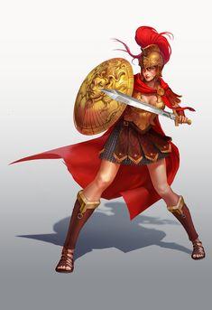 f npc Gladiator Med Armor Helm Shield Cloak Sword urban City Arena story Fantasy Female Warrior, Female Armor, Fantasy Armor, Medieval Fantasy, Fantasy Girl, Female Character Design, Character Design Inspiration, Character Art, Fantasy Characters