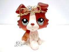 Littlest Pet Shop #1542 Red Brown white Collie Dog Blue Eye LPS w Accessory Rare