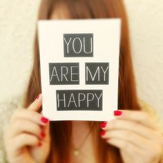 """Thinking of you Card. """"You are my Happy"""" Blank Card. Greeting Card. Father's Day Card. I love you Card. Statement Cards."""