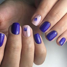 Purple nails with blush details and purple floral art.