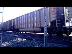 BNSF coal train on switch track