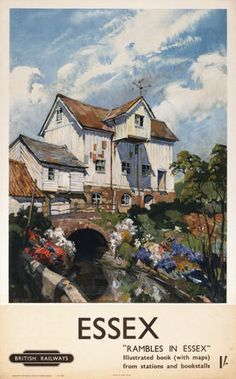 Rambles in Essex. Vintage BR Travel poster by Terence Cuneo. Posters Uk, Train Posters, Railway Posters, Retro Posters, Chelsea School Of Art, British Travel, National Railway Museum, Vintage Travel Posters, Poster Vintage