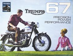 retro triumph motorcycle 1960s vintage advertising poster print in