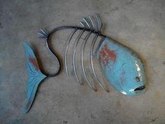 Fish Sculpture Tropical Beach Coastal Metal Wall Art