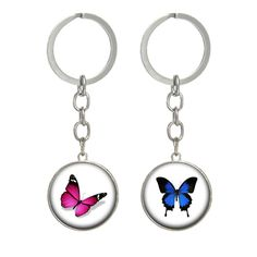 Butterfly keychain Glass animal pendant key holder Fashion jewelry for women alloy key ring 2017 new fashion