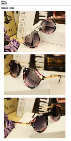 весенние круглые ретро очки с металлической дужкой