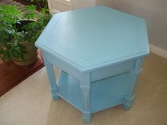 My own color mixing. I think it looks like a color of summer. I hand painted this end table using chalk style paint and finished with clear and some dark wax. Mary's Garden of Refinished Treasures  www.facebook.com