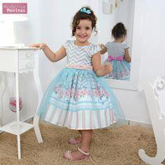 Vestido Meia Manga com Laço Colorido Petit Cherie Novo