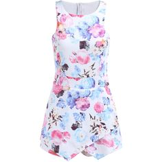 Sleeveless Floral Bodycon White Dress (84 RON) ❤ liked on Polyvore featuring dresses, multicolor, floral print bodycon dress, white floral dress, white mini dress, mini dress and floral dress