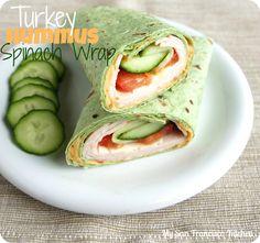 Turkey Spinach Hummus Wrap  #lunch #turkey #spinach #wrap #recipes
