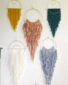 All of these sizes and colors are available in anyway you can dream them up! DM me for your own custom order. Yarn Wall Art, Macrame Wall Hanging Diy, Deco Boheme, Macrame Design, Boho Diy, Bohemian, Crafty Craft, Crafting, Macrame Projects