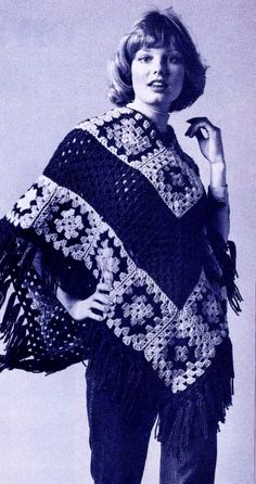Granny Square Retro Hippie Poncho Vintage PDF Crochet Pattern by MomentsInTwine on Etsy