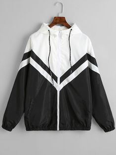 Color Block Zig Zag Windbreaker Jacket - Black - Black M Style Casual, Cute Casual Outfits, Outfits For Teens, Stylish Outfits, Fashion Outfits, Trendy Fashion, Style Fashion, Windbreaker Jacket, Hoodie Jacket