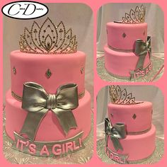 IT'S A GIRL pink and silver princess themed baby shower cake!