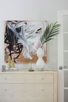 Pink and black abstract painting by Robbie Kemper. Shagreen dresser with modern styling. Everything But the House and House of Hipsters