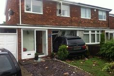 20-07-2014 Pictures of damage caused by a car which crashed into a house in Alexandra Road, Ashington