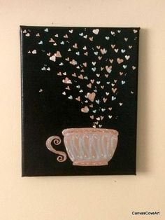"For the Love of Coffee 8"" x 10"" Canvas Acrylic Painting Rose Gold & Silver Glitter Mug with Hearts Art Picture Tea Cup Latte FREE SHIPPING by CanvasCoveArt on Etsy"