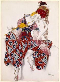 Léon Bakst  (Russian, Grodno 1866–1924 Paris). Costume Study for Nijinsky in his Role in La Péri, 1922. The Metropolitan Museum of Art, New York. Gift of Sir Joseph Duveen, 1922 (22.226.1) |  his design for a costume to be worn by the renowned male dancer Vaslav Nijinsky (1890–1950) demonstrates Bakst's involvement with Symbolism and Art Nouveau, as well as his dramatic use of color and sensuous line. #dance