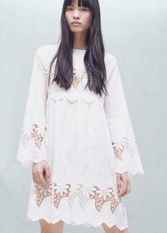 Robe ajourée coton - Robes pour Femme | MANGO France
