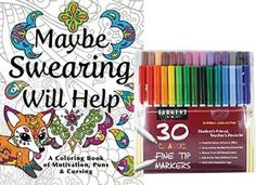 Love this Adult Coloring Book & markers! What girlfriend would love this gift? Fun gift for women who are recovering from illness, taking a trip or just need a laugh! Girlfriend Gift for fun friends!