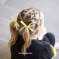 "Alicia on Instagram: ""Today we did this fun elastic style, inspired by @jehat crossed the braids and put them in pigtails.  We're so excited for this warmer weather!! ☀️ #kidhair #kidhairstyles #toddlerhairstyles #toddlerhair #sportshair #elasticstyle #pigtails"""