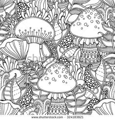 Seamless Pattern In Doodle Style Floral Ornate Decorative Tribal Forest Vector Coloring Book PagesColoring