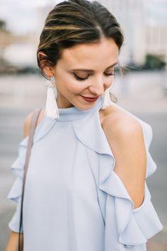 ruffle sleeves & tassel earrings in spring pastels