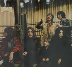 Left to right: Eric Clapton, John Lennon, Keith Moon, Julian Lennon, Yoko Ono and John Entwhistle in The Rolling Stones' Rock 'n' Roll Circus film, December 1968.