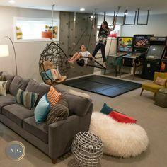 Kids Basement, Basement Ideas, Unfinished Basement Playroom, Garage Playroom, Garage Game Rooms, Cozy Basement, Boys Playroom Ideas, Basement Play Area, Ikea Kids Playroom