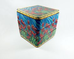 """""""Tulip Fields"""" polymer clay hand built box. Three stacking trays with lid."""