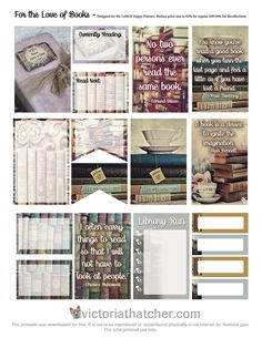 'For The Love Of Reading' book-themed free printable journal stickers download…