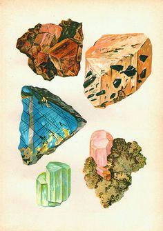 Mineralien Edelsteine antike Drucke Wissenschaft Kunst print Naturgeschichte print Vintage-Prints mineralische Kunst Druck alte Lithographie sechs GRÖßENOPTIONEN