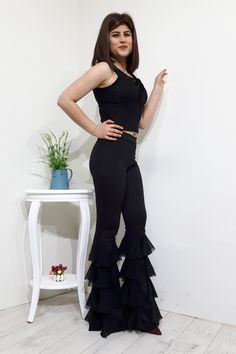 VOLANLI İSPANYOL PAÇA BAYAN PANTOLON The Dress, Fashion Ideas, Flower, Sewing, Formal Dresses, Pants, Clothes, Dresses For Formal, Trouser Pants