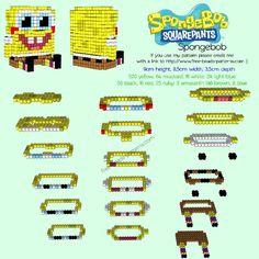 3D SpongeBob free hama/perler bead pattern