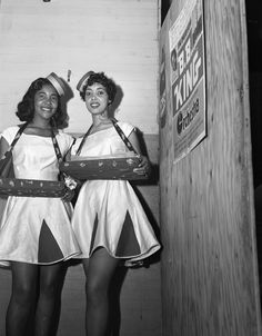 Cigarette girls in Tallahassee, Florida, Note the poster for the BB King Orchestra. Tallahassee Democrat collection, Florida Photographic Collection, State Library and Archives of Florida Vintage Photographs, Vintage Photos, Vintage Posters, Pin Up, Vintage Black Glamour, Vintage Beauty, African American History, Look At You, Up Girl
