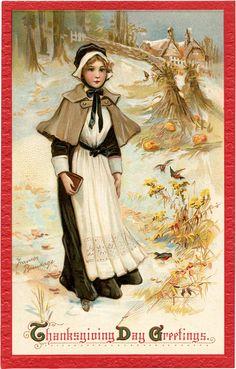 Thanksgiving Pilgrim Lady Image