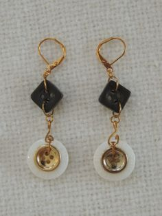 Dangle Earrings Gold Metal Coloring with Gold Black by StitchMetal, $7.00