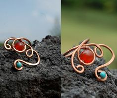 Hammered copper ring with Carnelian and Turqoise semiprecious stones made by Macramilia Creations Copper Rings, Hammered Copper, Carnelian, Heart Ring, Stones, Stud Earrings, Diy, Jewelry, Rocks