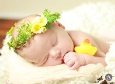 Amanda Abraham Photography, Inc. Newborn studio photography using fun props to enhance your photo experience! Adorable 8 day old newborn session with basket and box theme, along with family parent photo poses! Rubber ducky toy and flower wreath.