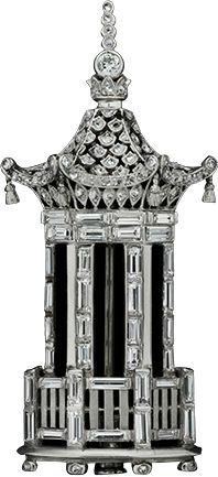 Art Deco Platinum, Diamond Tower Brooch, ca.1925. ALBION ART Collection