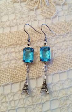 Blue Topaz Earrings, Eiffel Tower Charms, Silver French Earrings, Dangle Earrings, Blue Stone, Stainless Steel Hooks, Dangly Drop Earrings by FunkyTypes on Etsy