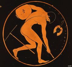 Discus thrower, red figure cup attributed to the Cleomelos Painter, 5th century BC Classical Greek (detail)