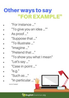 "Other Ways to Say ""For Example"" Vocabulary Sentences, Good Vocabulary, English Vocabulary Words, English Phrases, English Words, English Grammar, Essay Writing Skills, English Writing Skills, Writing Words"