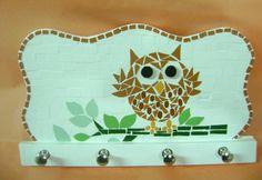 Porta Chaves em MDF em mosaico modelo de Corujinha