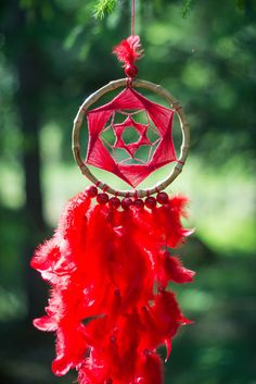 Red wall hanging dreamcatcher, Large Red dream catcher, Red feathers decor, Wall…