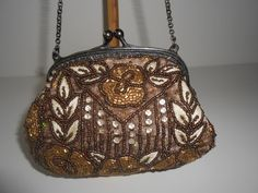 Evening Bag Beaded and Embroidery Glamorous by LittleBitsofGlamour, $30.00